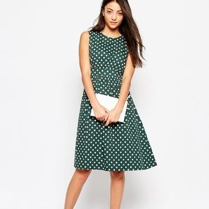 Modcloth Emily and Fin Lucy Green Polka Dot Dress